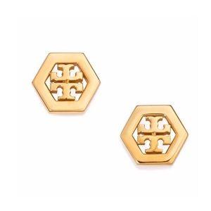 TORY BURCH • Gold Hexa Logo Earrings